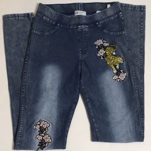 H&M skinny jeans with tiger and flowers